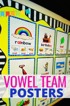 Introduce and reinforce vowel teams with these beautiful phonics posters. These posters will serve as an excellent reference for students throughout the school year. Sight Word Practice, Sight Word Games, Word Study, Word Work, Decoding Strategies, Nonsense Words, Reading Words, Long Vowels, English Language Arts