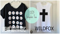 D.I.Y. graphic t-shirts using transfer paper & paint!
