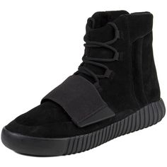 "Adidas Mens Yeezy Boost 750 ""Triple Black"" Black/Cblack Suede ($2,470) ❤ liked on Polyvore featuring men's fashion and men's shoes"