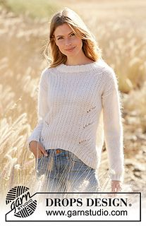 Wake the Wind - Knitted jumper in DROPS Alpaca and DROPS Kid-Silk. The piece is worked with textured pattern and displacements. Drops Cotton Light, Drops Kid Silk, Drops Baby, Drops Design, Knitting Designs, Knitting Patterns Free, Free Knitting, Drops Paris, Drops Alpaca