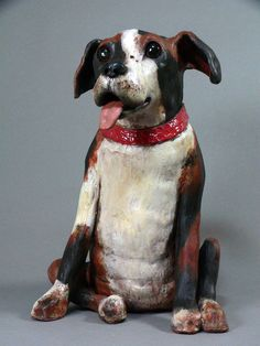 Dog Sculpture....Playful Clay  Animal Sculpture by Cathy Meincer
