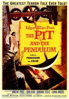 The Pit and the Pendulum (1961) Francis Barnard goes to Spain, when he hears his sister Elizabeth has died. Her husband, the son of the torturer of the Spanish Inquisition, tells him she has died of a blood disease. After some investigating he finds out that it was extreme fear that was fatal to his sister and that she may have been buried alive.  Vincent Price, Barbara Steele, John Kerr...horror