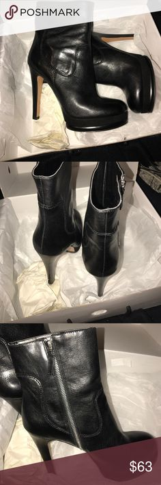 """Nine West Leather boots This boot has a 1"""" platform to compensate for heel height.  It's 5"""" - platform = 4"""" heel leather upper suede platform black leather boots are a must the higher the better  Nine West Shoes Ankle Boots & Booties"""