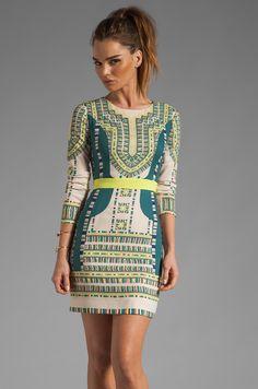 BCBGMAXAZRIA Runway Odette Embroidery Dress in Vanilla Combo