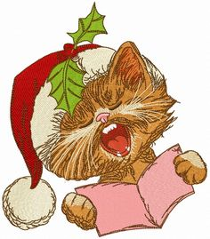 Cat sings Christmas carols 2 machine embroidery design  . Machine embroidery design. www.embroideres.com #kitten #Christmas #plant #animal #cute #song #Santahat #beige #holly #Berry #sings #carols #embroidery #embroideres