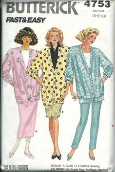 Butterick 4753 Misses Fast & Easy Jacket, Skirt and Pants Pattern, Sizes 6-8-10  UNCUT by DawnsDesignBoutique on Etsy