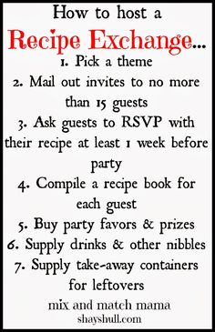 How to host a recipe exchange: Good idea for a party for any group. Would be a g - Shared Hosting - How to host a recipe exchange: Good idea for a party for any group. Would be a great easy family recipes sharing idea for busy parents. Recipe Exchange Party, Cookie Exchange Party, Christmas Cookie Exchange, Christmas Fun, Christmas Cookies, Holiday Fun, Holiday Foods, Christmas Items, Christmas Treats