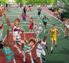 'The Blacktop' Canvas- NBA Fictional basketball players, playing a legendary game of pick-up. Funny Basketball Memes, Basketball Girlfriend, Basketball Crafts, Mvp Basketball, Basketball Drawings, Street Basketball, Basketball Workouts, Basketball Tattoos, Nba Pictures