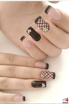 Glourious Nails For Brunettes Heart Nail Designs, French Nail Designs, Creative Nail Designs, Black Nail Designs, Creative Nails, Nail Art Designs, Purple Nail Art, Pastel Nails, Pink Nails