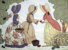 """#1 """"Bonnet Girls Seasons""""  Apple Orchard Pattern $13.50.    Abby, Marge and Grace enjoy a brisk fall afternoon in the Apple orchard. Shadow appliqué is used as the sky, clouds and ground. Satin stitched red apples fill the baskets."""