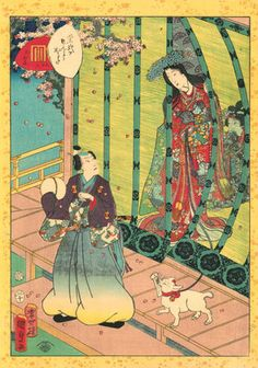 Utagawa Kunisada II (1823–1880), No. 36, Kashiwagi from the series Lady Murasaki's Genji Cards, 1857. Color woodblock print; 22 ½ x 16 inches. Courtesy Hiraki Ukiyo-e Foundation.  The LOLcats Of Japanese Print Art Have Officially Taken Over