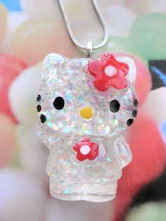 GIN BONUS!  HELLO Kawaii Kitty Cat Resin Necklace on Silver Plated Chain
