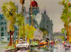 Don O'Neill Watercolor - Rainy Day at the Mission Inn, $200.00 (http://www.dononeill.com/rainy-day-at-the-mission-inn/)