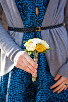 Flower Girl Bouquet - Felt Flower Bouquet - The Candace Bouquet - Alternative Wedding Flowers - Yellow -