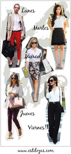 estilozas: 5 looks de oficina para la semana estilozas: 5 looks de oficina para la semana. Weekly Outfits, New Outfits, Chic Outfits, Work Outfits, Fashion Outfits, Business Casual Outfits, Office Outfits, Office Fashion, Work Fashion