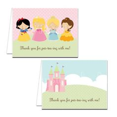 PRINTABLE Princess Party Thank You Notecards by daysigns on Etsy, $5.00