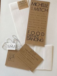 Modern Wedding Invitations with rsvp card by 2beUdesign on Etsy, $4.00