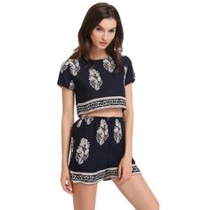 Runway Two Pieces Set Floral Print Crop Top Shorts Set Short Sleeve Casual Top Pants Dark Blue 2 Piece Set