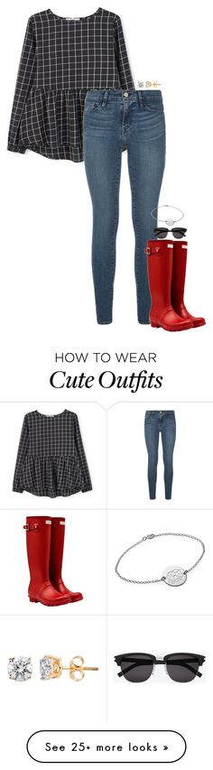 """""""cute winter outfit"""" by sassy-and-southern on Polyvore featuring MANGO, Frame Denim, Hunter, Yves Saint Laurent and sassysouthernwinter"""