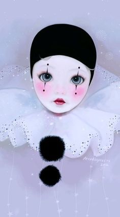 229 Best Pierrot And Mime Images La Luna, Amigos And, Harlequin Clown Woman Painting Pierrot Costume, Pierrot Clown, Arte Punch, Clown Paintings, Decoupage, Bjd Doll, Cute Clown, Vintage Clown, Send In The Clowns
