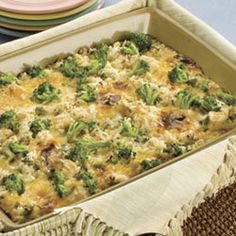 Creamy Chicken Broccoli Bake Recipe -- A true comfort dish, this chicken bake is easy to prepare and sure to satisfy. Just toss ingredients together and pour into a casserole dish. The crispy onion topping makes the meal!
