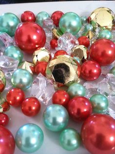 80pc Diamonds And Pearls Gems Holiday/Christmas Table Scatter/Centerpieces (golds, reds, greens)