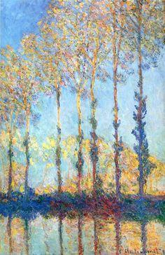 Claude Monet, Populieren op de oever van de Epte, 1891, olieverf op doek, 100 x 65 cm, particuliere collectie - Informatie over dit schilderij: http://www.artsalonholland.nl/meesterwerken/claude-monet-populieren-op-de-oever-van-de-epte