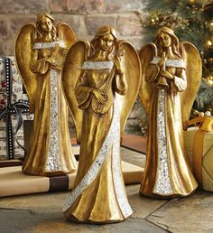 Holiday Mosaic Angel Figurines Trio $22