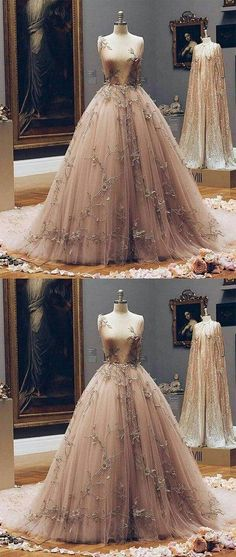 Champagne v neck tulle lace prom dress, champagne tulle evening dress - shdress Ball Dresses, Ball Gowns, Prom Dresses, Wedding Dresses, Fairy Prom Dress, Designer Evening Dresses, Tulle Lace, Tulle Dress, Quinceanera Dresses