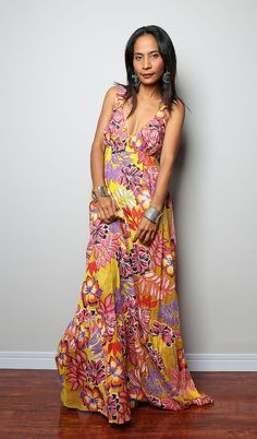 SummerMaxi Dress / Boho Cotton Floral Dress  Kiss of by Nuichan, $59.00