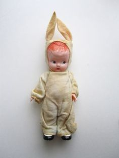 Vintage plastic doll in bunny suit, reminds me of my last Halloween costume still in Canada. Darlene and I, both bunnies.