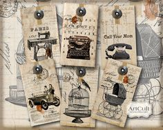 UNIQUE EPHEMERA GIFT Tags  Digital Collage Sheet  by ArtCult, $4.60