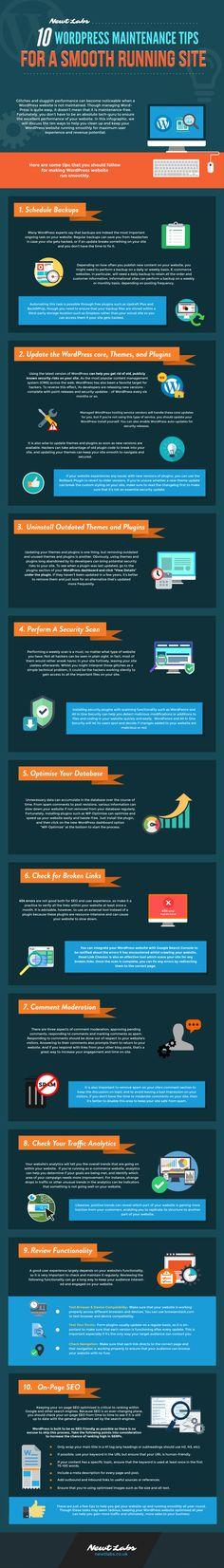 10 WordPress Maintenance Tips For A Smooth Running Site #Infographic #WebDesign #WordPress