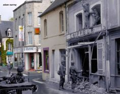 Then and now... Rue Général de Gaulle, Sainte-Mère-Église (© Ghosts of History, http://www.ghostsofhistory.co.uk/ )