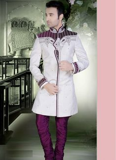 White Linen Embroidery Work and Stone Work Wedding Sherwani  Please all eyes when you drape this white shaded linen wedding sherwani. This exquisite wedding sherwani enhanced with embroidery work and stone work.  http://www.fillyz.com/mens/buy-sherwani/white-linen-embroidery-work-and-stone-work-wedding-sherwani-14835.html
