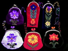 coin purses and glasses case with crewel embroidery