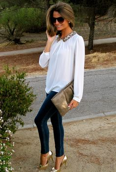 White blouse with sequin collar   skinnies   metallic shoes