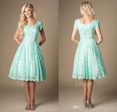 Vintage Lace Knee Length Mint Short Modest Bridesmaid Dresses With Cap Sleeves Round Neck 2017 New Temple Informal Bridesmaids Dresses Duck Egg Blue Bridesmaid Dresses Floor Length Bridesmaid Dresses From Beautypalace, $81.32| Dhgate.Com