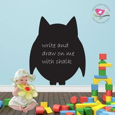Owl Chalkboard - Wall Sticker / Decal - pinned by pin4etsy.com