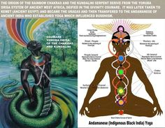 The origin of the rainbow chakras and the kundalini serpent derive from the yoruba orisa system of ancient west africa, deified in the divinity osumare.  It was later taken to kemet ( ancient egypt ) and became the uraeas and then transfered to the andamanese of ancient india who established yoga which influenced buddhism.