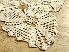 Vintage square crochet doily. White, handmade, lace, diamond, square.  | CarpetbaggerCreations - Home Decor on ArtFire