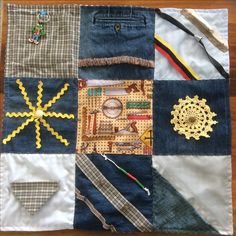 Fidget quilt for a male, zip, buttons, elastic, crinkle fabric, slides, picture of tools, key ring in pocket, different textures. Made by Iris Oct 2016 Alzheimers Activities, Fidget Quilt, Oct 2016, Different Textures, Toot, Crinkles, Key Rings, Iris, Quilting