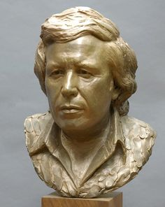 "Bronze portrait sculpture of Don McLean by artist Zenos Frudakis. It was used on the album cover ""Don McLean Classics. Freedom Sculpture, Sculpture Head, Don Mclean, Traditional Sculptures, Male Face, Clay Art, Album Covers, Bronze, Statue"