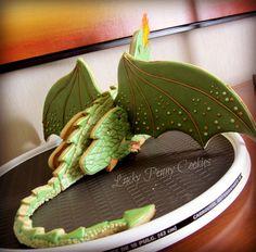Meeju, the standing 3D dragon      http://www.facebook.com/LuckyPennyCookies