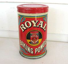 1940's Vintage Lithographed Royal Baking Powder Tin w Lid, Red, Yellow, Blue, Best Condition