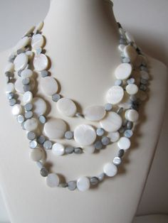 White and Grey mother of pearl multi strand necklace by yasmi65, $35.00