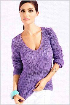 Женский пуловер спицами из пряжи модного этой весной фиалкового цвета с интересным узором и глубоким v-образным вырезом обязательно должен присутствовать в вашем весеннем гардеробе....Размеры: 36-38 (40-42) 44-46..Для вязания пуловера спицами нам...