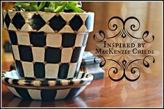 Have you seen the new Mackenzie - Childs catalog? Every page is full of gorgeous eye candy. I love the whole Courtly Check . Painted Clay Pots, Painted Flower Pots, Clay Crafts, Diy And Crafts, Fun Crafts, Mackenzie Childs Inspired, Mckenzie And Childs, Funky Home Decor, Hand Painted Furniture