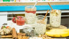 Overnight Oats are not only healthy but delicious! For more healthy recipes, watch Home & Family weekdays at on Hallmark Channel! Snacks For Work, Healthy Work Snacks, Healthy Recipes, Healthy Food, Delicious Recipes, Healthy Breakfasts, Healthy Eating, Home And Family Hallmark, Family Tv