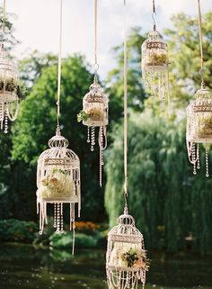 Whimsical weddings // Vintage weddings // Hanging glass lanterns // Outdoor weddings
